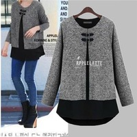 New 2014 Fashion Plus Size Casual T Shirt Patchwork Long Sleeves Women Blouses Loose False Two Pieces Women Clothing