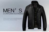 2014 Autumn/winter new arrival men fashion Plus velvet 4XL zipper outdoor PU Leather jacket high quality Leather Outerwear Coats