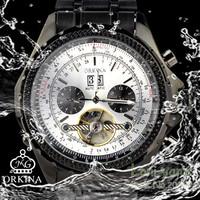 Orkina White Chronograph Skeleton Dial Mechanical Black Steel Mens Wrist Watch+Gift Box Free Ship