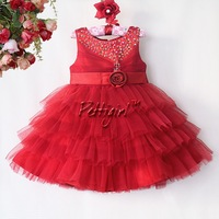 2014 Fashion Lovely Baby Girl Christmas Dress Hot Red Polyester Dresses With Flower Princess Dresses For Girls GD40814-44