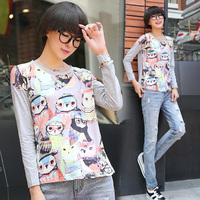 771 spring print  T shirts block cotton long-sleeve round neck T-shirt female women tops