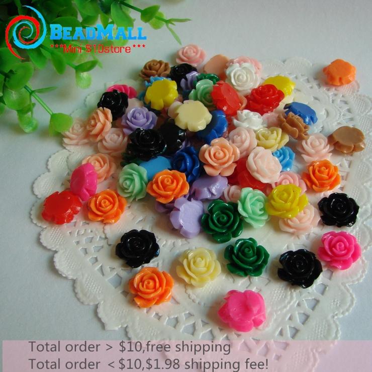 Min order $10 Mixed Color 16mm 100pcs/lot Flat Back Resins, Multi Colors 3D Resin Rose Flower Free Shipping DIY210217(China (Mainland))