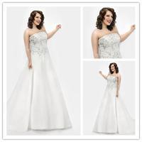 beads appliques sstrapless organza bride gown plus size vestido de noiva floor-length plus size Wedding dress 2014 NK-871