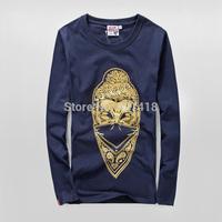 new 2014 Blood message vintage westcoast autumn winter men's long-sleeve O-neck T-shirt bronzier buddha head free shipping