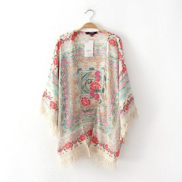 verão mulheres chegada nova moda normic vintage patchwork de flores varredura borla protetor solar outerwear camisa(China (Mainland))