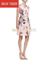 (DEIVE TEGER)  high street brand Fashion Summer women printing floral pattern slim bodycon elegant casual dresses ML042