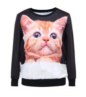 Hot Selling Black Cat Sport Suit Loose  Hoody Women Digital Printed Sweatshirt Wholesale