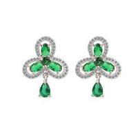 fan-shaped rhinestone stud earring 18k white gold plated antique earring for women bohemian earrings M219