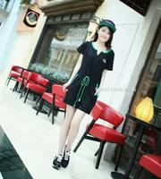 Large Size L,XL,2XL,3XL Women Casual Drawstring Black Cotton Straight Dress Free Shipping a0043