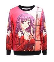 Wholesale 2014 Cartoon Pretty Girl Sport Suit Hoody Women Digital Printed Sweatshirt Hot Selling