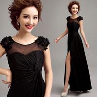 Evening Dress 2014 new arrival plus size women's sexy black party evening dress long transparent flowers bifurcation prom dress