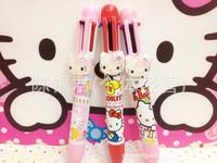Hello Kitty cartoon stationery six-color pen, kitty cat multicolor ball-point pen. Cute hello kitty doll diamond decoration