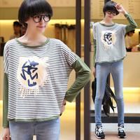 Tx676 autumn loose stripe patchwork print long-sleeve t-shirt female