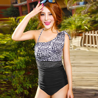 Free shipping New style lady women Leopard One piece swimwear loping shoulder swimsuit Hotspring beach dress braces skirt