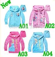 2014 Kids 4 colour FROZEN Elsa Anna Hooded Long Sleeve children Zipper Hoodies cartoon top kids t shirts baby hoody coat QY124,