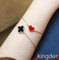 2014 bulk cheap lab gemstone jewelry, fashion pop jewelry wholesale,Pursuit heart love sweet clover bracelet 14K gold bracelet