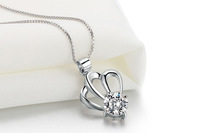 Free shipping! retail Stylish design 925 silver pendant with zirconia for woman crown shape pendant P0094