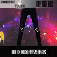 Rivet Cool men's Korean Male rock punk black stretch denim jeans pants trousers