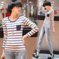 Tx610 2014 autumn new arrival applique o-neck women's basic stripe shirt long-sleeve T-shirt female