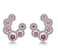 sweet pink rhinestone stud earring for women 18k white gold plated earring for women statement accessories womens earrings M213