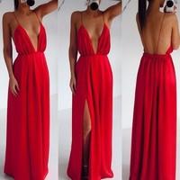 High Split Women Dress Evening Party Elegant Long Dress Sexy Red Spaghetti Strap Backless Pleated Maxi Dress