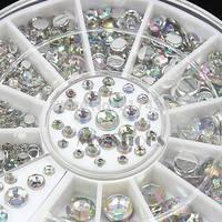 2014 New Fashion 12 Grid Wheel 3D Glitter Rhinestone Alloy Tips Acrylic Nail Art Decoration 8327 3F