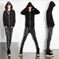 Men Skinny straight stretchy relaxed denim gray jeans pencil trousers pants