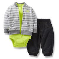 2014 Carter's Baby Boys Jacket+ Bodysuit+ Pants 3pcs Sets, Baby  Boys Fashion Suit ,Freeshipping