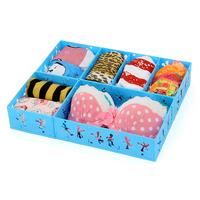 2014 New Hot Sale DIY plastic Folding 6 Grid clothing storage case Storage Box for Bra,underwear,socks 38*32*7cm