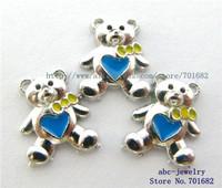 10pcs FC024 dark blue bear floating charm wholesales for living in memory of Grandma floating locket as Mom Dad gift