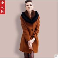 2014 autumn and winter high quality woolen overcoat luxury fox fur plus size woolen overcoat female