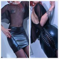 Plus Size 2014 Sexy Gothic Black Fetish Lace Up Catsuit PVC Faux Leather Lace Bodycon Dress,Clubwear Dancing Dress