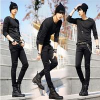 Vintage Men Male checks loose casual Jeans denim pants trousers + waist chain