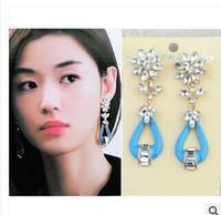 New 2014  Korean Style Fashion Dangle Earrings Crystal Flower Long Earrings