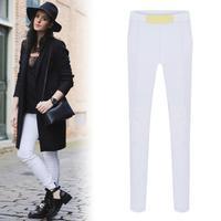 8140 # 2014 autumn and winter fashion Korean hit color stitching feet Slim pencil pants stretch pants plus thick velvet