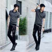 destroyed ripped jeans black denim punk rock skinny slim pencil trousers pants
