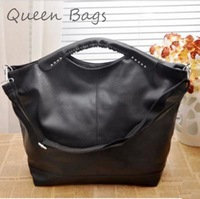 New fashion 2014 Female elegent OL messenger Bag Famous brand rivet  Shoulder Bag Women Solid PU leather Handbag S4742