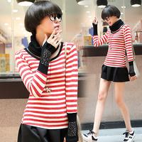 153 2014 stripe muffler slim stiped t shirts, rhinestone long-sleeve basic T-shirts with scarf