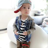 2014 Children New Fashion Outerwear Long Sleeve Denim Stitching Patchwork Jacket Boy Coat Autumn Kids Jackets Free ShippingAB246