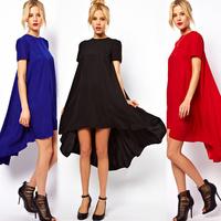 women clothing Chiffon Dress Asymmetric Hem vestidos femininos Short Sleeve Crew Neck Long Loose plus size Dresses