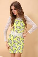 Vestidos Dresses New 2014 Women summer dress long-sleeve printed sexy lace dress fashion linen girl casual dress loose loose 2XL