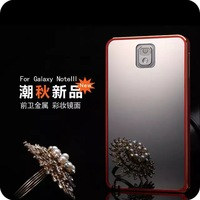 MOQ 1pcs Cool Design Luxury Mirror back cover case for Samsung Note3 N9000,luxury aluminum metal frame phone cases