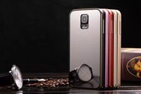 MOQ 1pcs Cool Design Luxury Mirror back cover case for Samsung galaxy S5 I9600,luxury aluminum metal frame phone cases