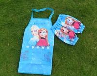 Frozen    Kids      Apron    kit    Aprons +cuff   5Pieces/lot