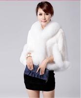 Free Shipping 2014 Autumn Winter New Fur Coat Luxury Fox Hair Collar Thicken Women Fur Overcoat(White+S/M/L) Hot Sales  E 95