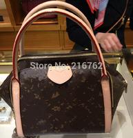 Top ! Lady Fashion Handbag in Brown Signature Calf Leather Women Bag Marais MM M41070 Marais BB M41071