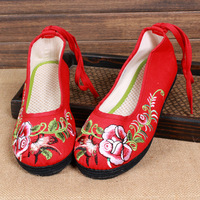 National embroidery trend fluid hibiscus flowers lacing multi-layered sole casual shoes embroidered shoes women's shoes