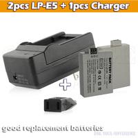 2pcs 1500mAh lithium battery LP-E5 LP E5 digital camera battery lpe5 + charger  For Canon DSLR EOS 500D 450D 1000D kiss x3