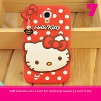 Free Shipping 3D Korea Hello kitty Bow Polka dots Soft Silicone Case Cover for Samsung Galaxy S4 mini i9190