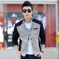 Free shopping spring new Korean Slim Men's latest spell color plaid jacket collar